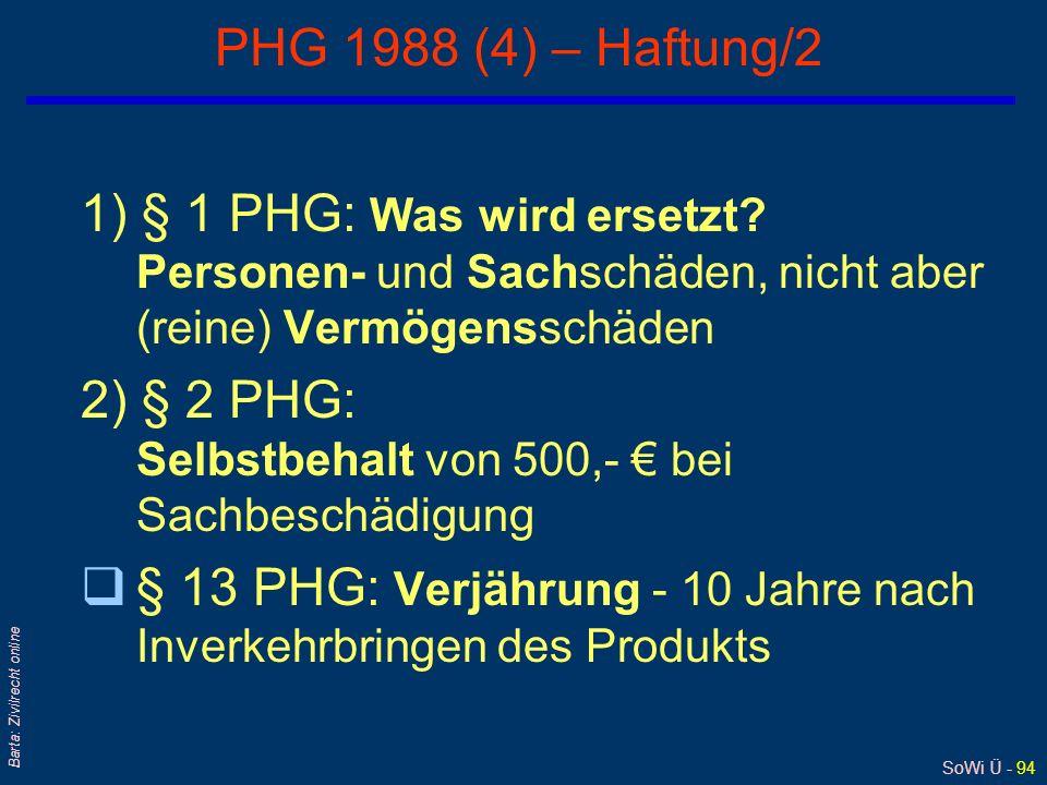 SoWi Ü - 93 Barta: Zivilrecht online PHG 1988 (3) – Haftung/1 q§ 1 Abs 1 PHG: Wer haftet ? l Z 1: Hersteller/Produzent l Z 2: Importeur l Z 3: Händler