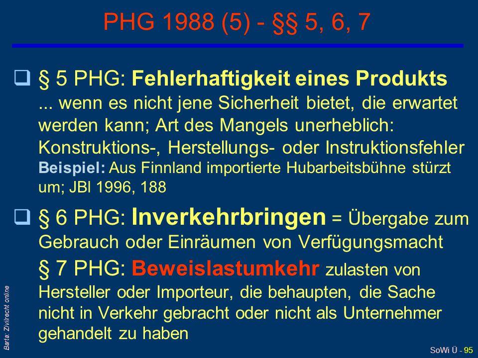 SoWi Ü - 94 Barta: Zivilrecht online PHG 1988 (4) – Haftung/2 1) § 1 PHG: Was wird ersetzt? Personen- und Sachschäden, nicht aber (reine) Vermögenssch