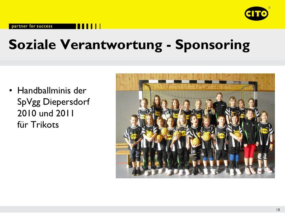 18 Soziale Verantwortung - Sponsoring Handballminis der SpVgg Diepersdorf 2010 und 2011 für Trikots