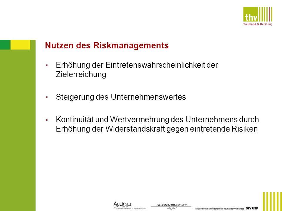 Nutzen des Riskmanagements Erhöhung der Eintretenswahrscheinlichkeit der Zielerreichung Steigerung des Unternehmenswertes Kontinuität und Wertvermehru