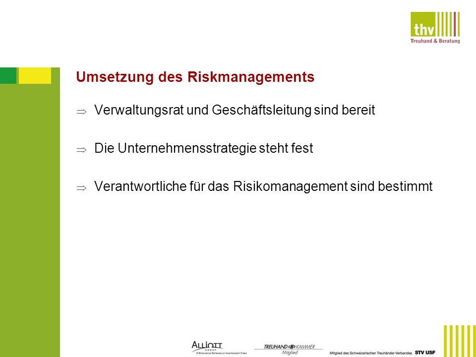 Umsetzung des Riskmanagements Verwaltungsrat und Geschäftsleitung sind bereit Die Unternehmensstrategie steht fest Verantwortliche für das Risikomanag