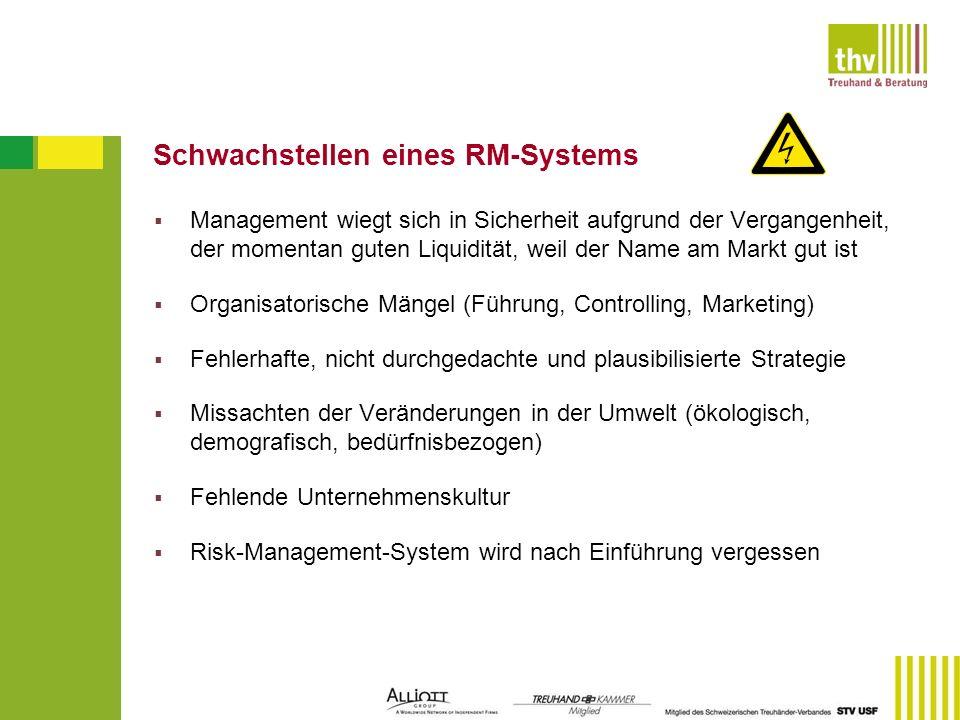 Schwachstellen eines RM-Systems Management wiegt sich in Sicherheit aufgrund der Vergangenheit, der momentan guten Liquidität, weil der Name am Markt