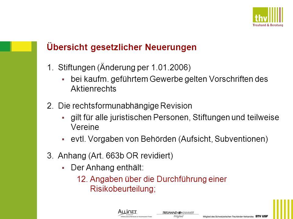 Übersicht gesetzlicher Neuerungen 1.Stiftungen (Änderung per 1.01.2006) bei kaufm. geführtem Gewerbe gelten Vorschriften des Aktienrechts 2. Die recht