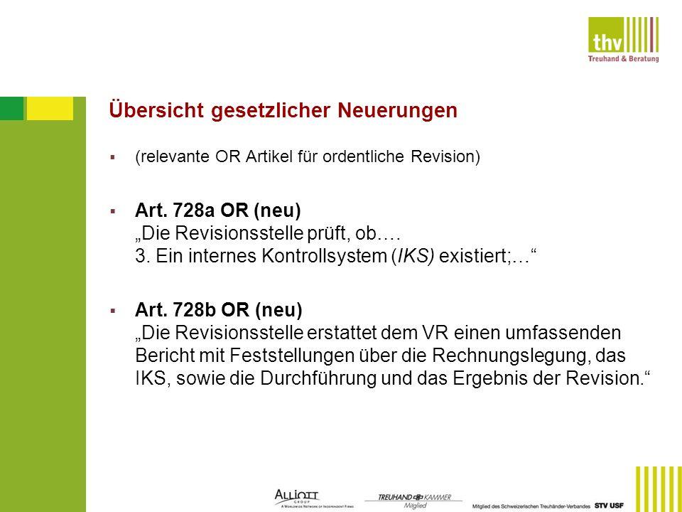 Übersicht gesetzlicher Neuerungen (relevante OR Artikel für ordentliche Revision) Art. 728a OR (neu) Die Revisionsstelle prüft, ob…. 3. Ein internes K