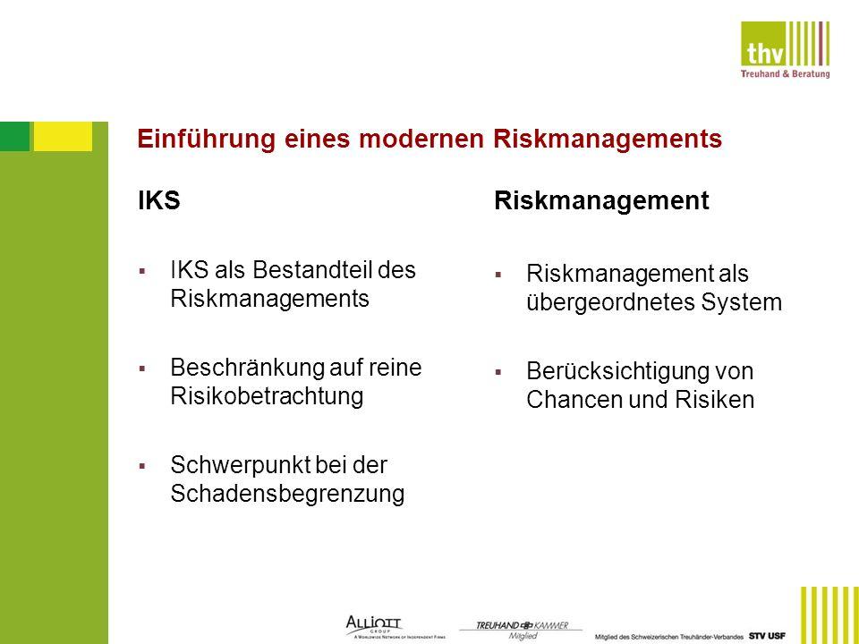 Einführung eines modernen Riskmanagements IKS IKS als Bestandteil des Riskmanagements Beschränkung auf reine Risikobetrachtung Schwerpunkt bei der Sch