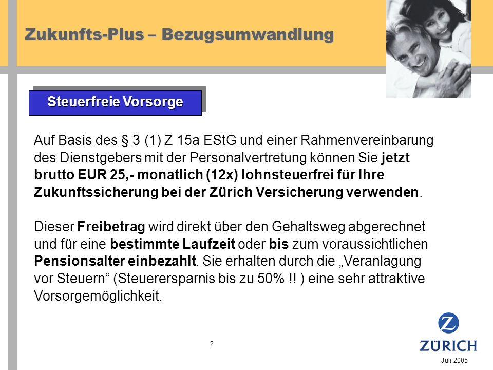 Zukunfts-Plus – Bezugsumwandlung Juli 2005 2 Auf Basis des § 3 (1) Z 15a EStG und einer Rahmenvereinbarung des Dienstgebers mit der Personalvertretung können Sie jetzt brutto EUR 25,- monatlich (12x) lohnsteuerfrei für Ihre Zukunftssicherung bei der Zürich Versicherung verwenden.