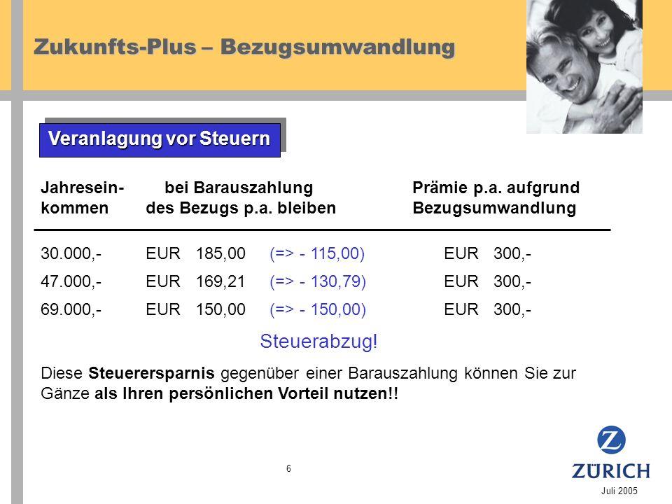 Zukunfts-Plus – Bezugsumwandlung Juli 2005 6 Veranlagung vor Steuern Steuerabzug.