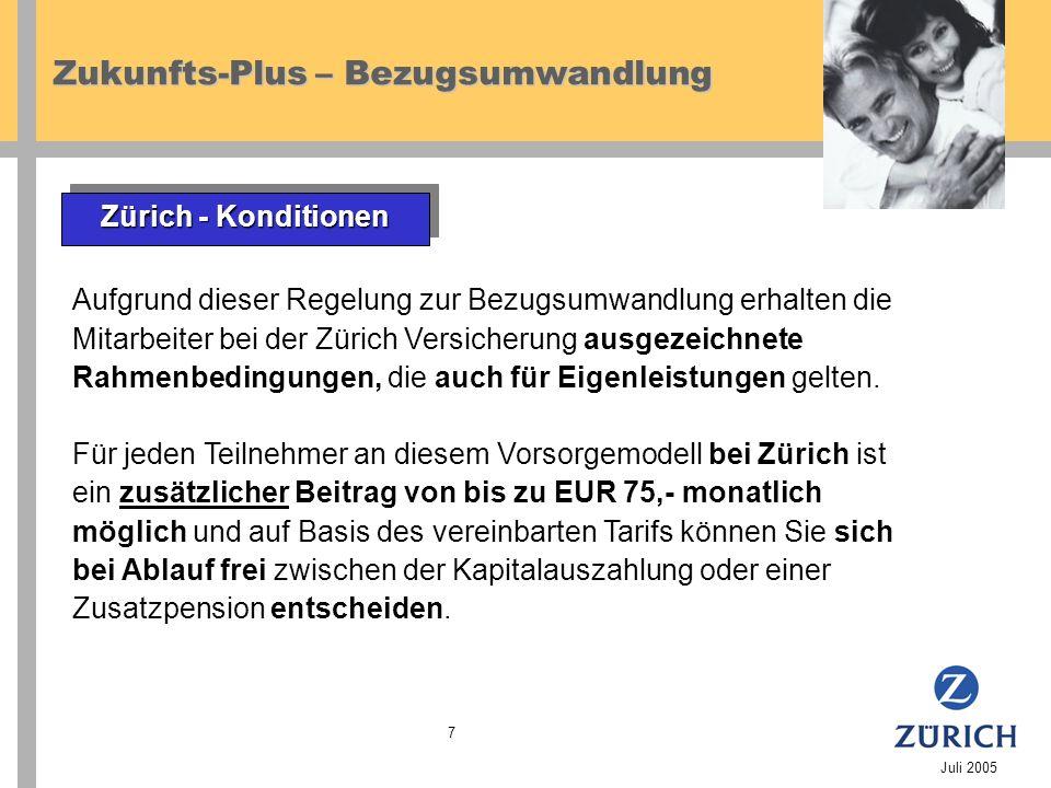 Zukunfts-Plus – Bezugsumwandlung Juli 2005 7 Aufgrund dieser Regelung zur Bezugsumwandlung erhalten die Mitarbeiter bei der Zürich Versicherung ausgezeichnete Rahmenbedingungen, die auch für Eigenleistungen gelten.