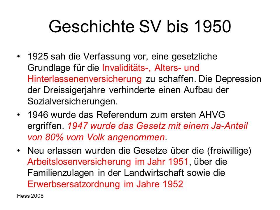 Hess 2008 Geschichte SV bis 1950 1925 sah die Verfassung vor, eine gesetzliche Grundlage für die Invaliditäts-, Alters- und Hinterlassenenversicherung