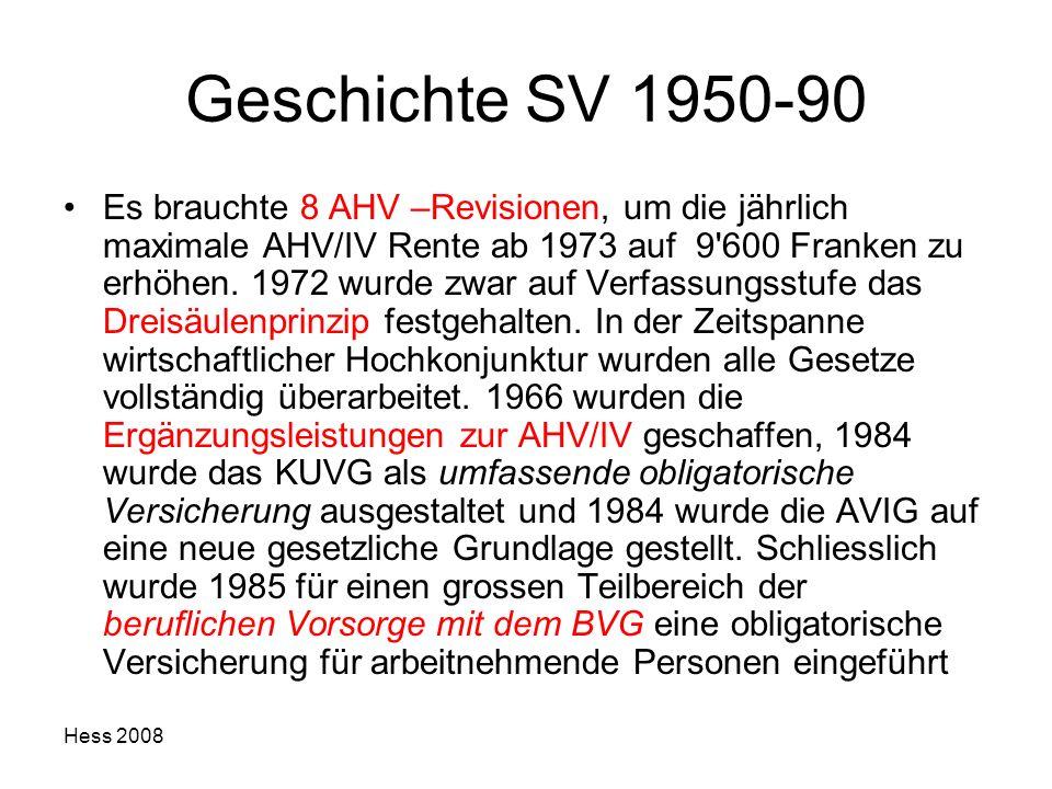 Hess 2008 Geschichte SV 1950-90 Es brauchte 8 AHV –Revisionen, um die jährlich maximale AHV/IV Rente ab 1973 auf 9'600 Franken zu erhöhen. 1972 wurde