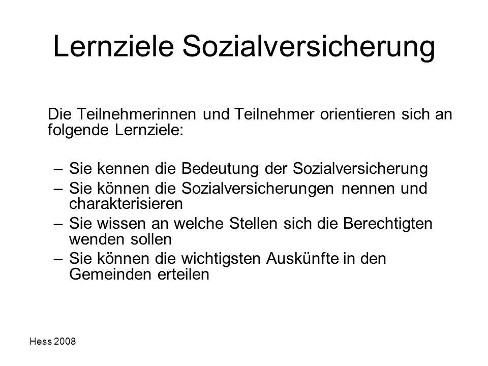 Hess 2008 Lernziele Sozialversicherung Die Teilnehmerinnen und Teilnehmer orientieren sich an folgende Lernziele: –Sie kennen die Bedeutung der Sozial