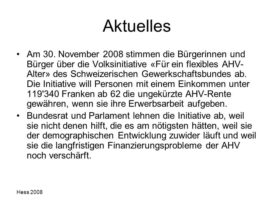 Hess 2008 Aktuelles Am 30. November 2008 stimmen die Bürgerinnen und Bürger über die Volksinitiative «Für ein flexibles AHV- Alter» des Schweizerische