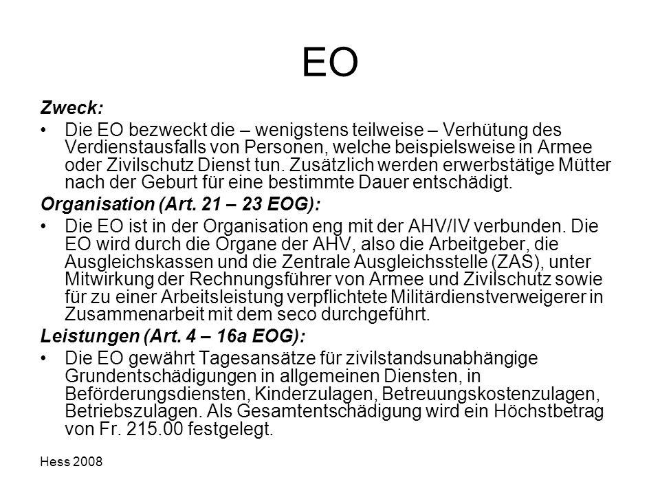 Hess 2008 EO Zweck: Die EO bezweckt die – wenigstens teilweise – Verhütung des Verdienstausfalls von Personen, welche beispielsweise in Armee oder Ziv