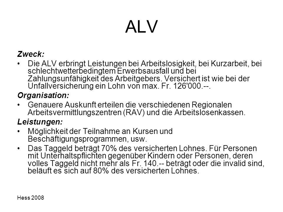 Hess 2008 ALV Zweck: Die ALV erbringt Leistungen bei Arbeitslosigkeit, bei Kurzarbeit, bei schlechtwetterbedingtem Erwerbsausfall und bei Zahlungsunfä
