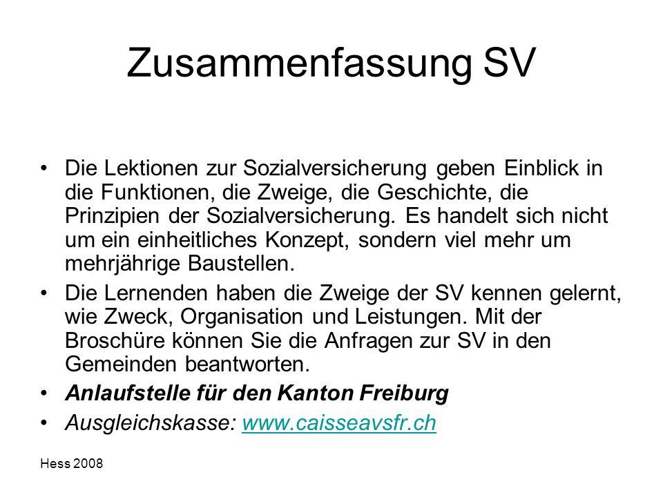 Hess 2008 Zusammenfassung SV Die Lektionen zur Sozialversicherung geben Einblick in die Funktionen, die Zweige, die Geschichte, die Prinzipien der Soz