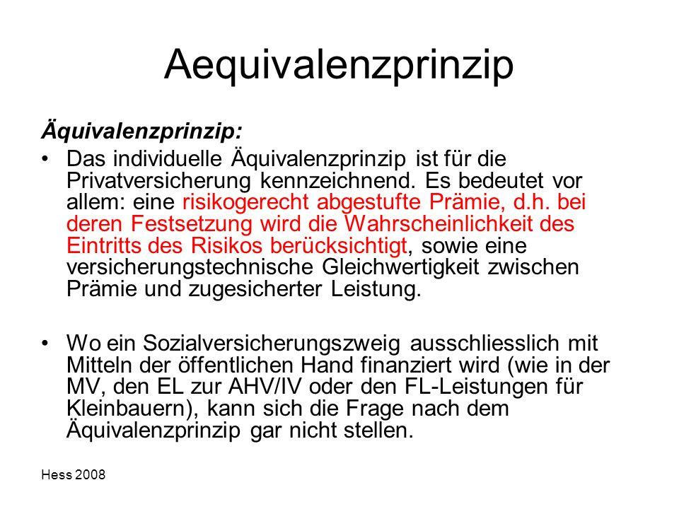 Hess 2008 Aequivalenzprinzip Äquivalenzprinzip: Das individuelle Äquivalenzprinzip ist für die Privatversicherung kennzeichnend. Es bedeutet vor allem