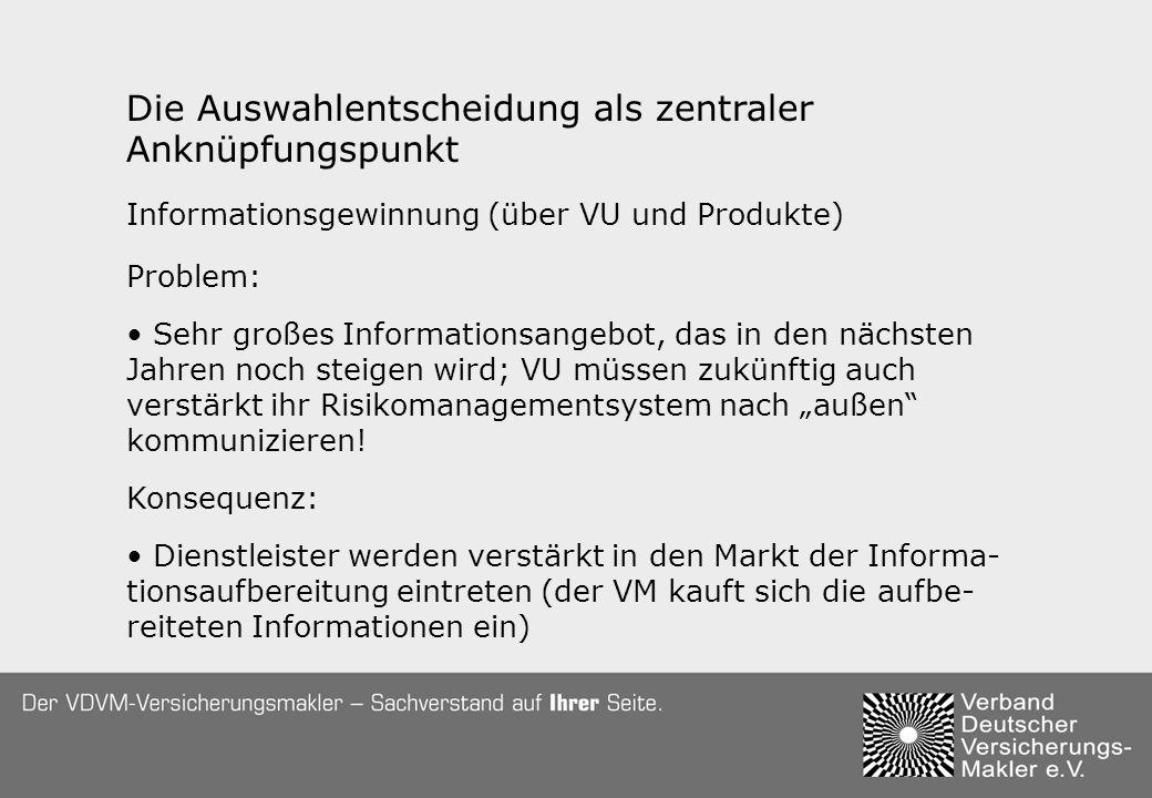 Die Auswahlentscheidung als zentraler Anknüpfungspunkt Informationsgewinnung (über VU und Produkte) Problem: Sehr großes Informationsangebot, das in den nächsten Jahren noch steigen wird; VU müssen zukünftig auch verstärkt ihr Risikomanagementsystem nach außen kommunizieren.