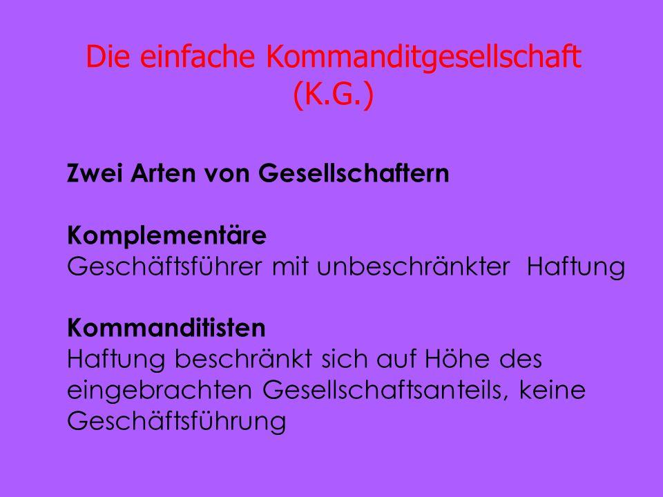 Die einfache Kommanditgesellschaft (K.G.) Zwei Arten von Gesellschaftern Komplementäre Geschäftsführer mit unbeschränkter Haftung Kommanditisten Haftu