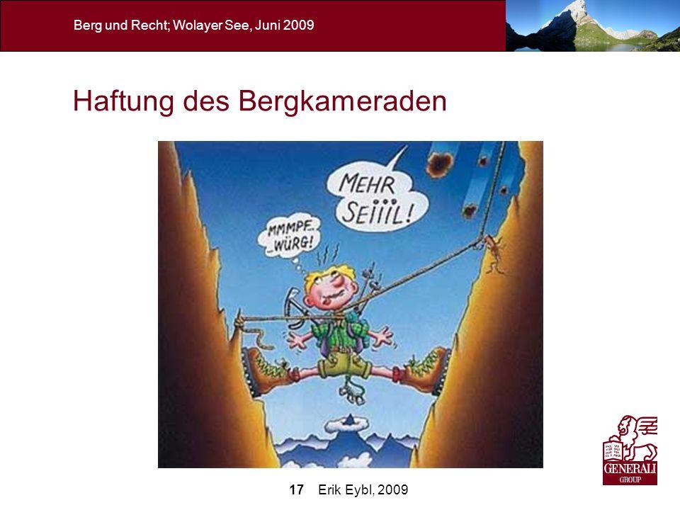 17 Erik Eybl, 2009 Berg und Recht; Wolayer See, Juni 2009 Haftung des Bergkameraden