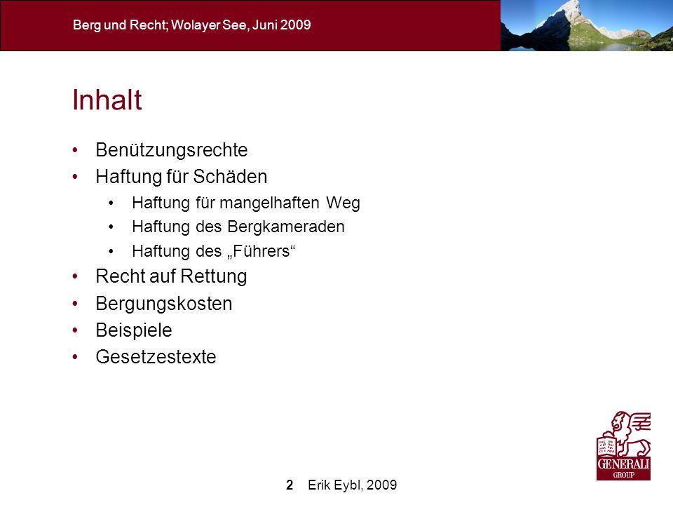2 Erik Eybl, 2009 Berg und Recht; Wolayer See, Juni 2009 Inhalt Benützungsrechte Haftung für Schäden Haftung für mangelhaften Weg Haftung des Bergkame