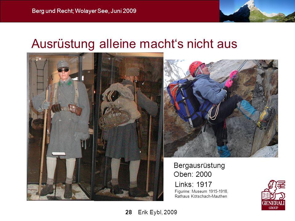 28 Erik Eybl, 2009 Berg und Recht; Wolayer See, Juni 2009 Ausrüstung alleine machts nicht aus Neben mangelndem Wissen über die Gefahren im alpinen Gel