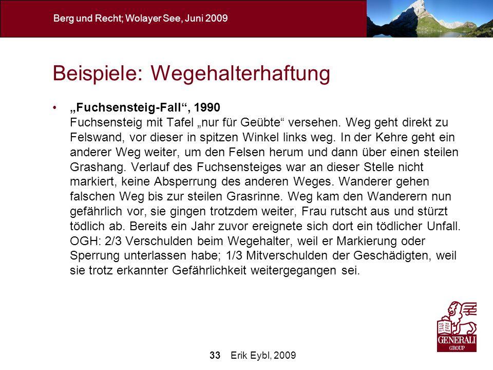 33 Erik Eybl, 2009 Berg und Recht; Wolayer See, Juni 2009 Beispiele: Wegehalterhaftung Fuchsensteig-Fall, 1990 Fuchsensteig mit Tafel nur für Geübte v