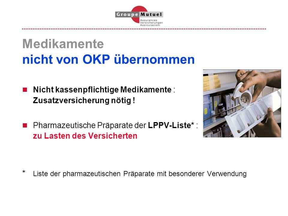 Medikamente nicht von OKP übernommen Nicht kassenpflichtige Medikamente : Zusatzversicherung nötig ! Pharmazeutische Präparate der LPPV-Liste* : zu La