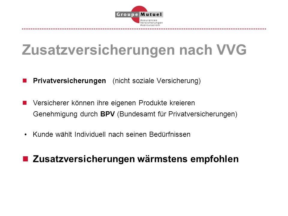 Zusatzversicherungen nach VVG Privatversicherungen (nicht soziale Versicherung) Versicherer können ihre eigenen Produkte kreieren Genehmigung durch BP