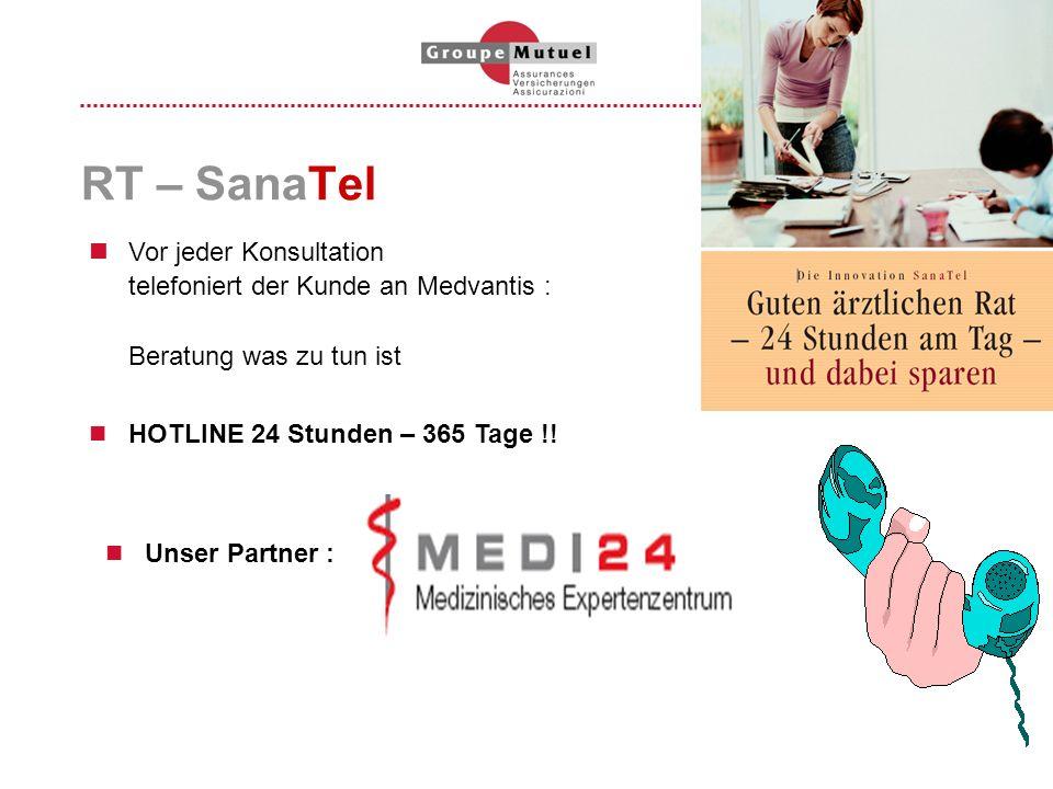 RT – SanaTel Unser Partner : Vor jeder Konsultation telefoniert der Kunde an Medvantis : Beratung was zu tun ist HOTLINE 24 Stunden – 365 Tage !!
