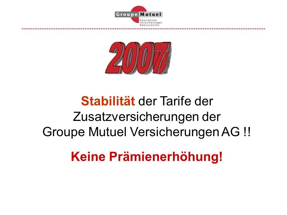 Stabilität der Tarife der Zusatzversicherungen der Groupe Mutuel Versicherungen AG !! Keine Prämienerhöhung!