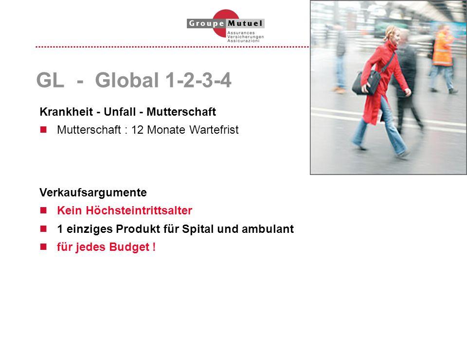 GL - Global 1-2-3-4 Verkaufsargumente Kein Höchsteintrittsalter 1 einziges Produkt für Spital und ambulant für jedes Budget ! Krankheit - Unfall - Mut