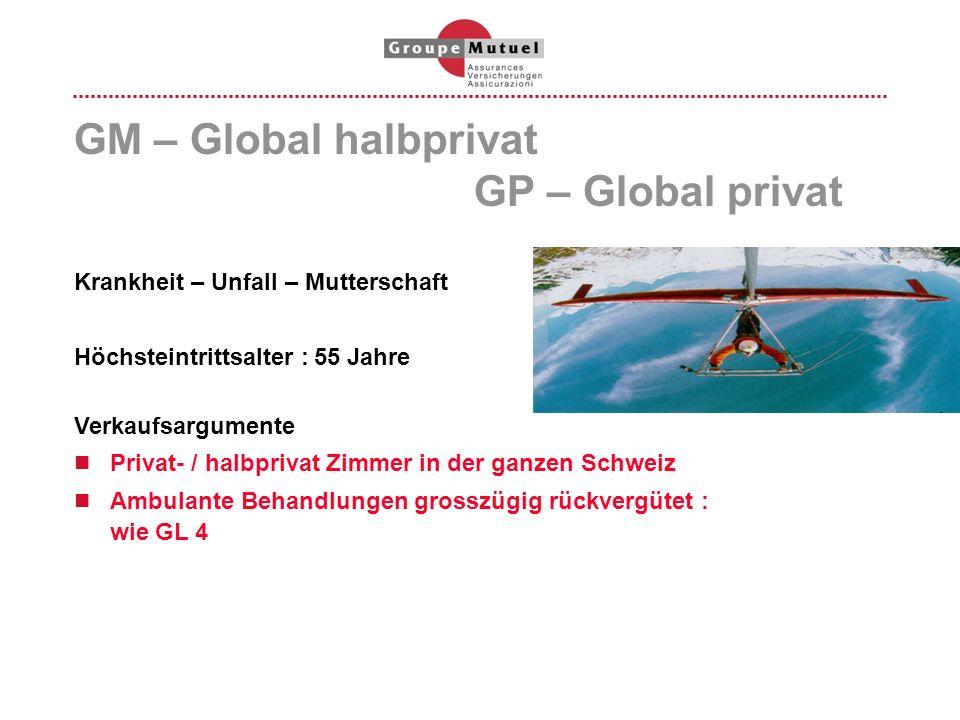 GM – Global halbprivat GP – Global privat Krankheit – Unfall – Mutterschaft Höchsteintrittsalter :55 Jahre Verkaufsargumente Privat- / halbprivat Zimm