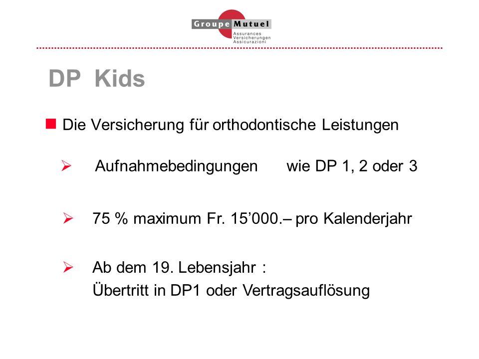 Die Versicherung für orthodontische Leistungen DP Kids 75 % maximum Fr. 15000.– pro Kalenderjahr Ab dem 19. Lebensjahr : Übertritt in DP1 oder Vertrag