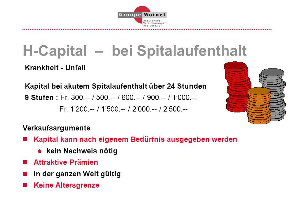 H-Capital – bei Spitalaufenthalt Krankheit - Unfall Kapital bei akutem Spitalaufenthalt über 24 Stunden 9 Stufen : Fr. 300.-- / 500.-- / 600.-- / 900.