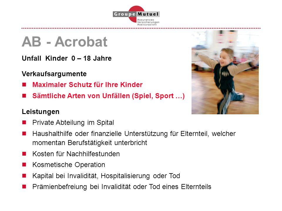 AB - Acrobat Unfall Kinder 0 – 18 Jahre Verkaufsargumente Maximaler Schutz für Ihre Kinder Sämtliche Arten von Unfällen (Spiel, Sport …) Leistungen Pr