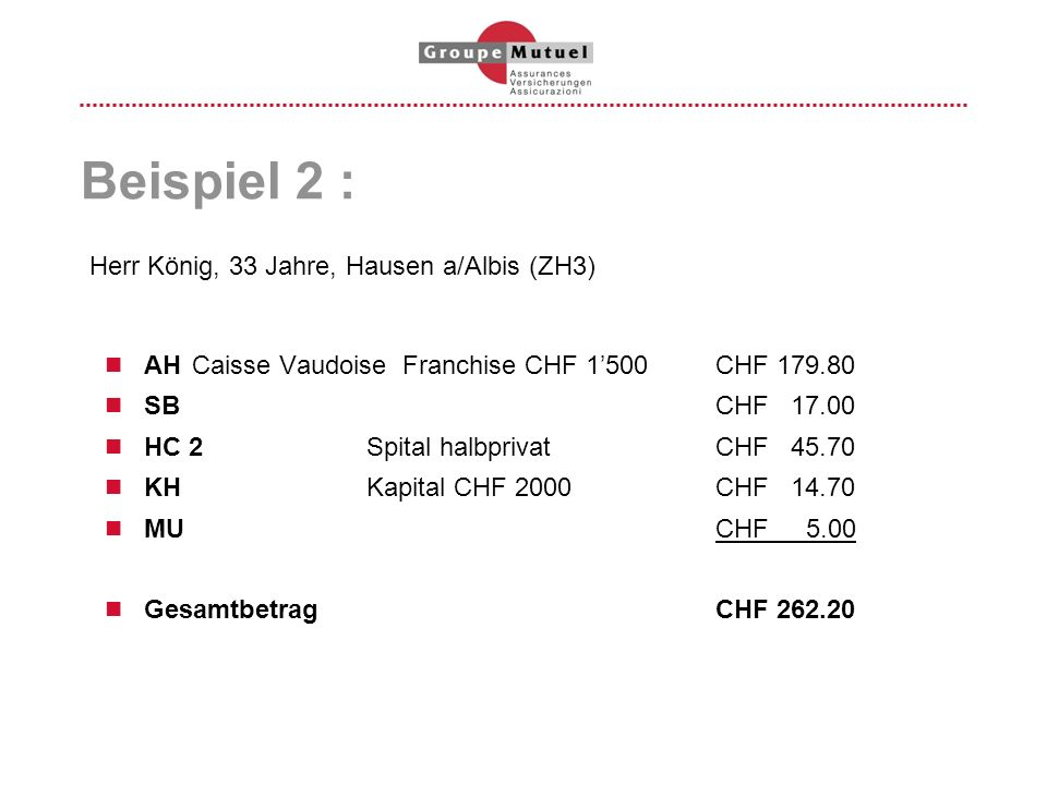 Beispiel 2 : AHCaisse Vaudoise Franchise CHF 1500CHF 179.80 SBCHF 17.00 HC 2Spital halbprivatCHF 45.70 KHKapital CHF 2000CHF 14.70 MUCHF 5.00 Gesamtbe