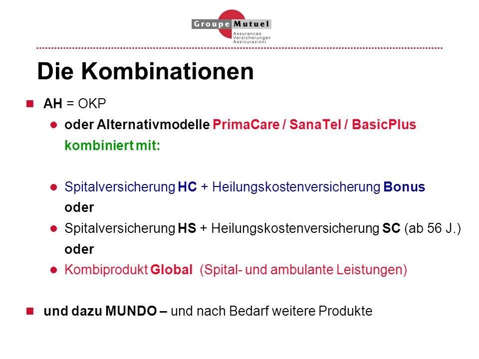 Die Kombinationen AH = OKP oder Alternativmodelle PrimaCare / SanaTel / BasicPlus kombiniert mit: Spitalversicherung HC + Heilungskostenversicherung B