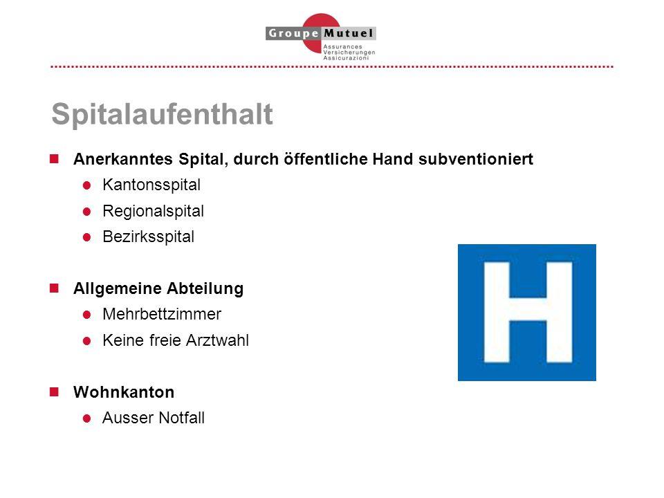 Spitalaufenthalt Anerkanntes Spital, durch öffentliche Hand subventioniert Kantonsspital Regionalspital Bezirksspital Allgemeine Abteilung Mehrbettzim