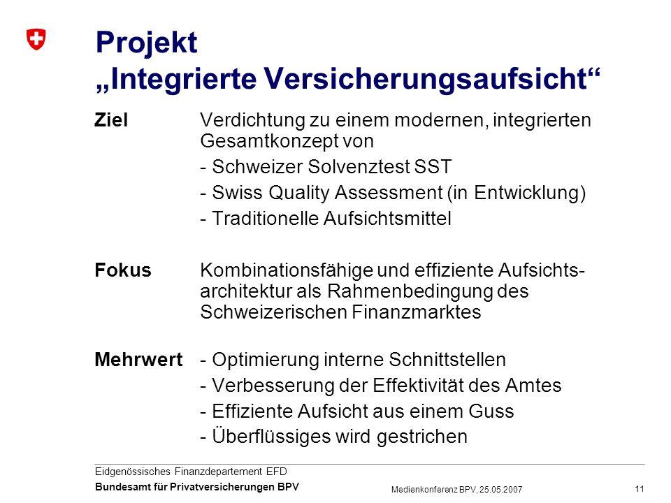 11 Eidgenössisches Finanzdepartement EFD Bundesamt für Privatversicherungen BPV Medienkonferenz BPV, 25.05.2007 Projekt Integrierte Versicherungsaufsi