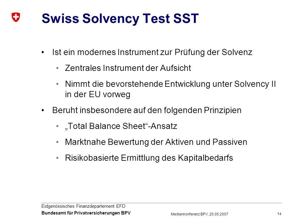14 Eidgenössisches Finanzdepartement EFD Bundesamt für Privatversicherungen BPV Medienkonferenz BPV, 25.05.2007 Swiss Solvency Test SST Ist ein modern