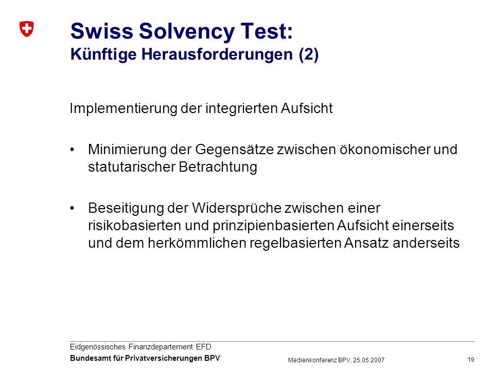 19 Eidgenössisches Finanzdepartement EFD Bundesamt für Privatversicherungen BPV Medienkonferenz BPV, 25.05.2007 Swiss Solvency Test: Künftige Herausfo