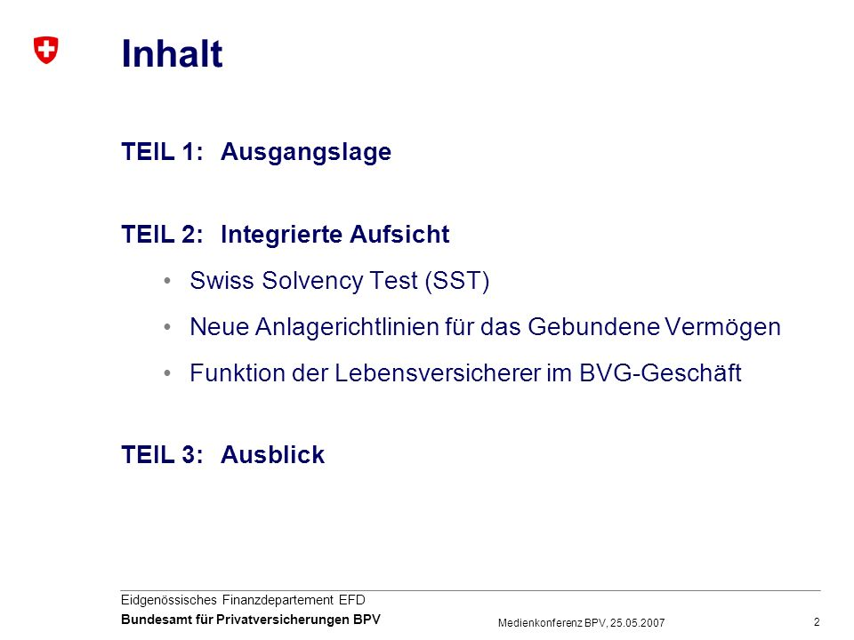 2 Eidgenössisches Finanzdepartement EFD Bundesamt für Privatversicherungen BPV Medienkonferenz BPV, 25.05.2007 Inhalt TEIL 1:Ausgangslage TEIL 2:Integ