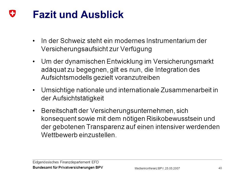40 Eidgenössisches Finanzdepartement EFD Bundesamt für Privatversicherungen BPV Medienkonferenz BPV, 25.05.2007 Fazit und Ausblick In der Schweiz steh