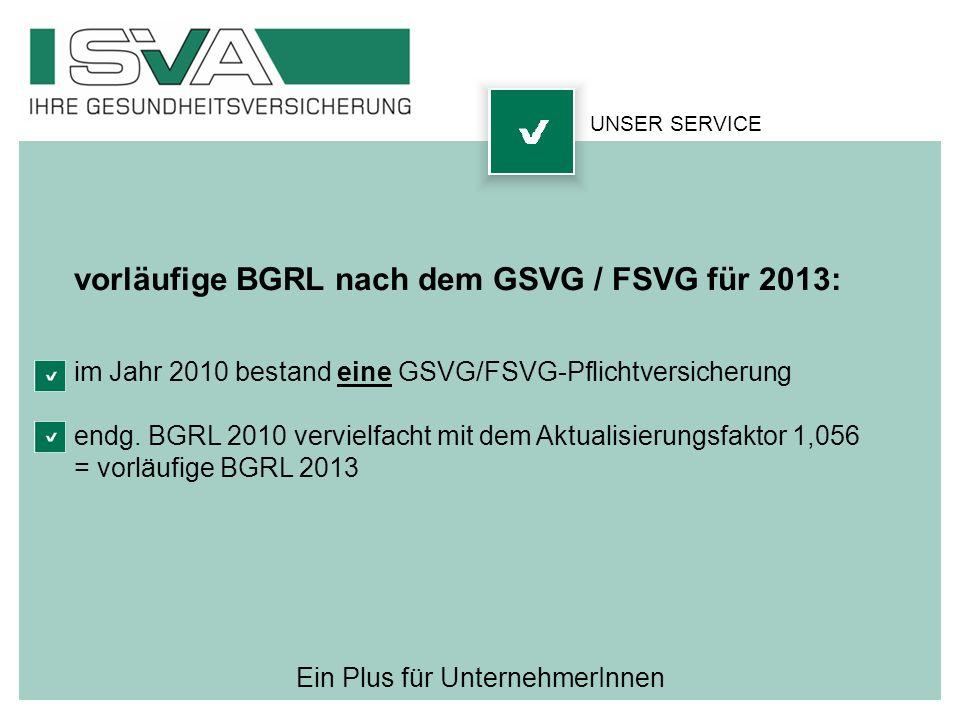 Ein Plus für UnternehmerInnen UNSER SERVICE vorläufige BGRL nach dem GSVG / FSVG für 2013: im Jahr 2010 bestand eine GSVG/FSVG-Pflichtversicherung end