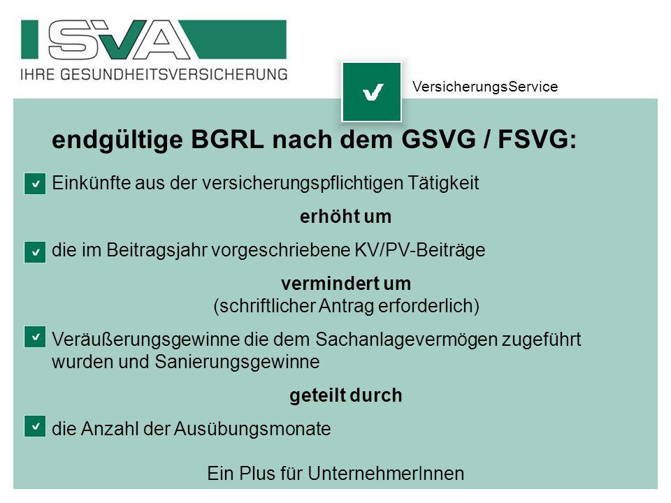 Ein Plus für UnternehmerInnen endgültige BGRL nach dem GSVG / FSVG: Einkünfte aus der versicherungspflichtigen Tätigkeit erhöht um die im Beitragsjahr