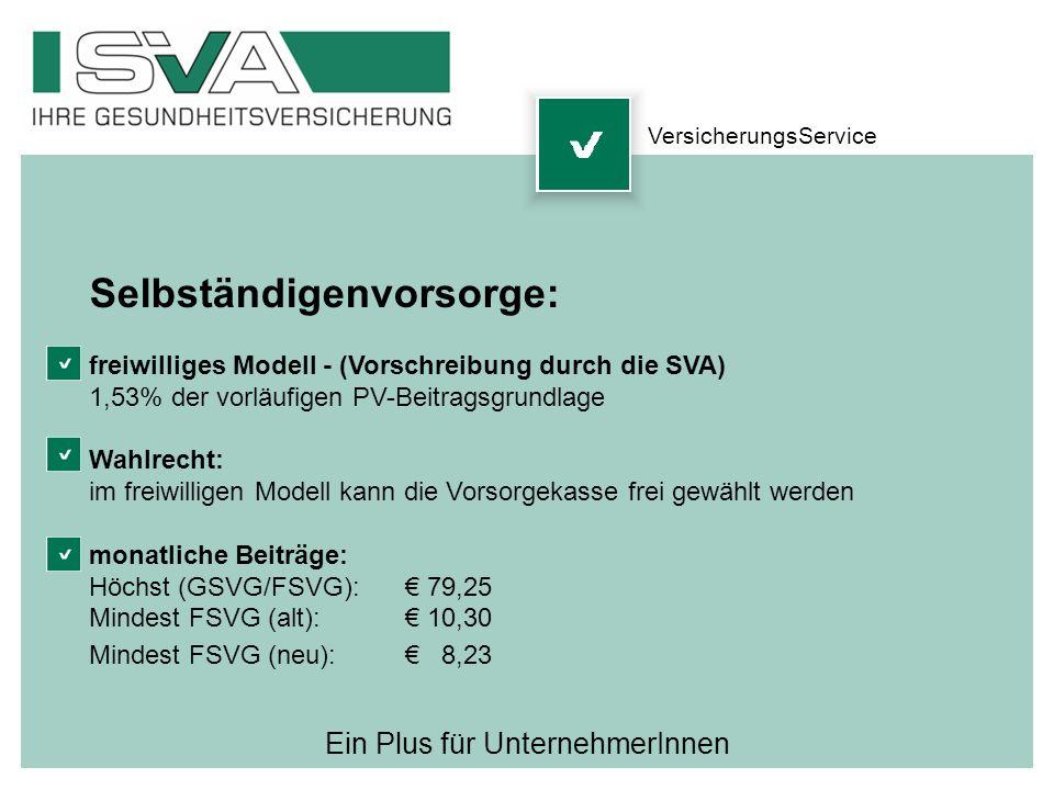 Ein Plus für UnternehmerInnen Selbständigenvorsorge: freiwilliges Modell - (Vorschreibung durch die SVA) 1,53% der vorläufigen PV-Beitragsgrundlage Wa