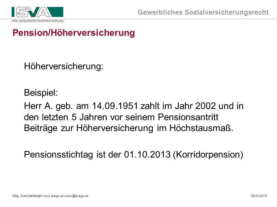 Gewerbliches Sozialversicherungsrecht Mag. Wechselberger/ www.svagw.at / pps.t@svagw.at09.04.2013 Höherversicherung: Beispiel: Herr A. geb. am 14.09.1