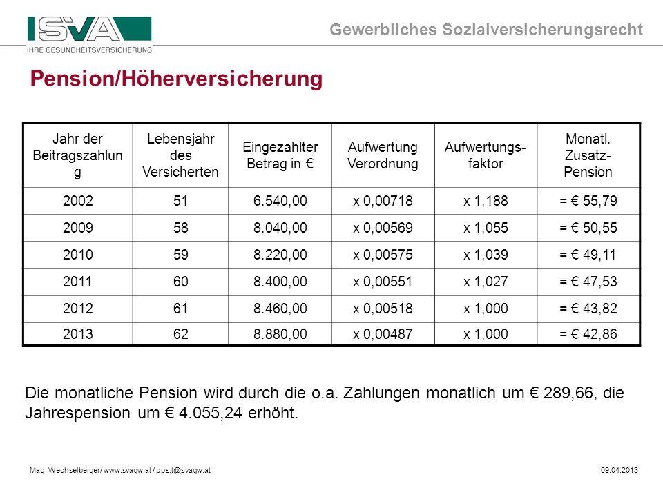 Gewerbliches Sozialversicherungsrecht Mag. Wechselberger/ www.svagw.at / pps.t@svagw.at09.04.2013 Pension/Höherversicherung Jahr der Beitragszahlun g