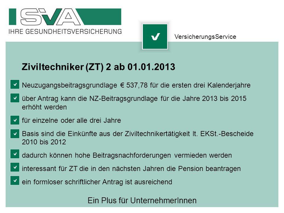Ein Plus für UnternehmerInnen Ziviltechniker (ZT) 2 ab 01.01.2013 Neuzugangsbeitragsgrundlage 537,78 für die ersten drei Kalenderjahre über Antrag kan