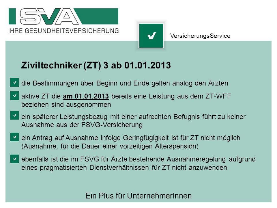 Ein Plus für UnternehmerInnen Ziviltechniker (ZT) 3 ab 01.01.2013 die Bestimmungen über Beginn und Ende gelten analog den Ärzten aktive ZT die am 01.0